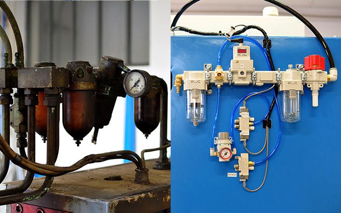 Repasovaný zvárací stroj - vynovený pneumatický obvod