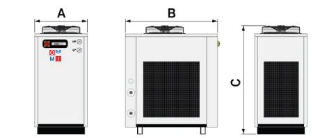 Rozmery chladičov CHWT 162 – CHWT 372